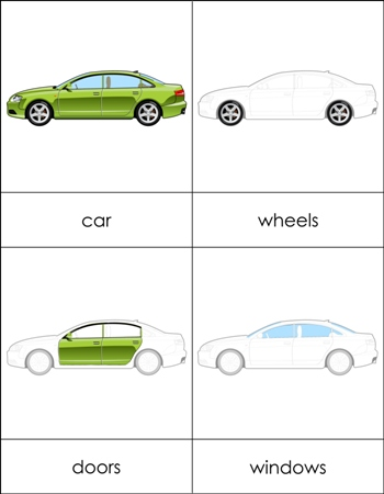 parts of a car nomenclature cards from montessori for everyone. Black Bedroom Furniture Sets. Home Design Ideas