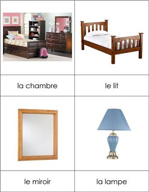 French Nomenclature Cards Bedroom