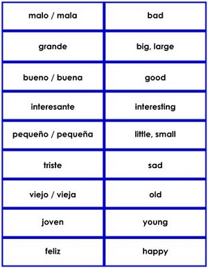 Spanish Grammar Card Set